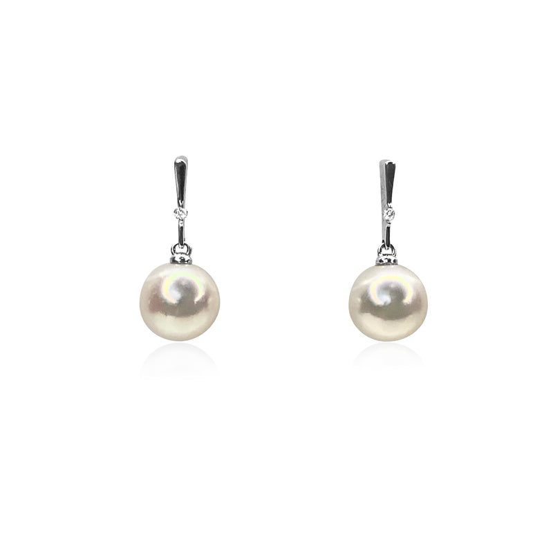 Pearl Drop Earrings with diamond accents