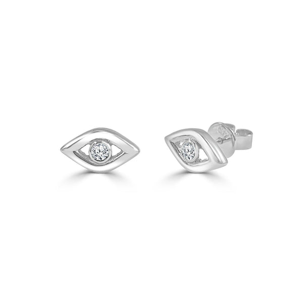 Diamond Evil Eye Stud Earrings in 14K White Gold