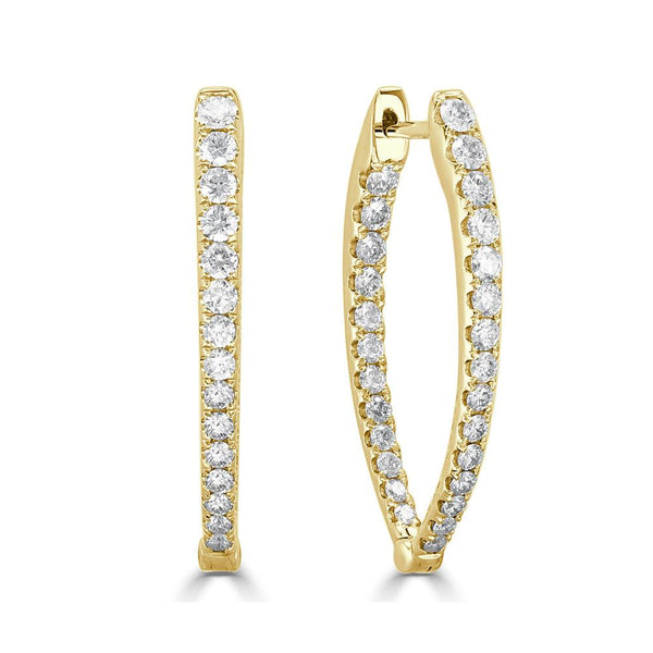 Medium Diamond Point Hoop in 14K Yellow Gold