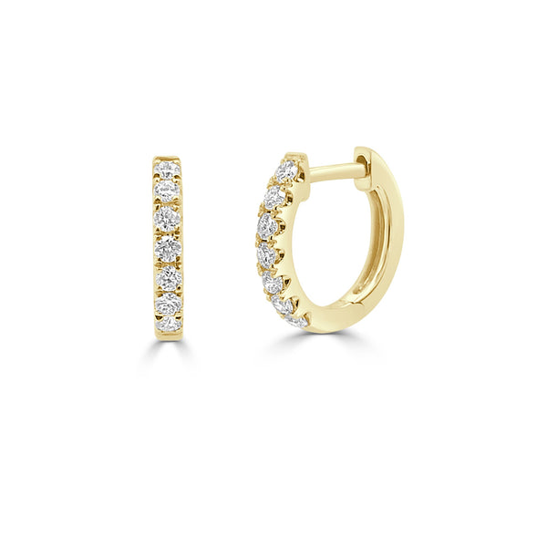 Baby Diamond Huggies in 14K Yellow Gold