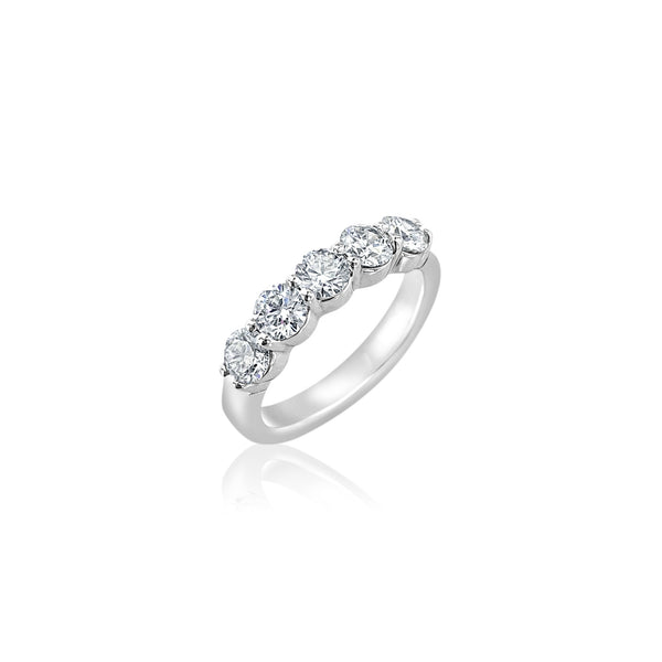 Five Round Diamonds Statement Band — 1.18 Carats in 14k White Gold