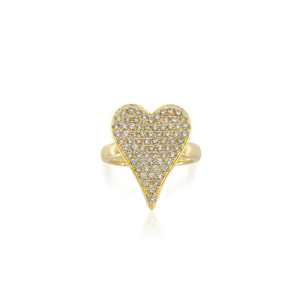 San Antonio Jewelry Diamond heart ring in yellow gold or white gold. Diamond cluster center and comfort fit band.