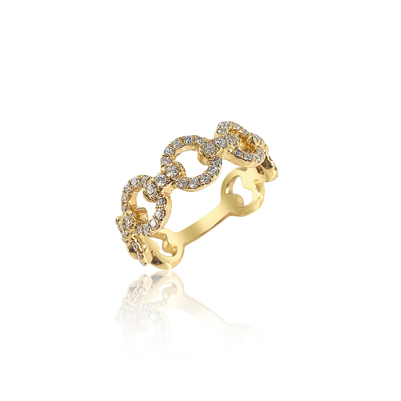 Diamond Link Ring in 18K Yellow Gold