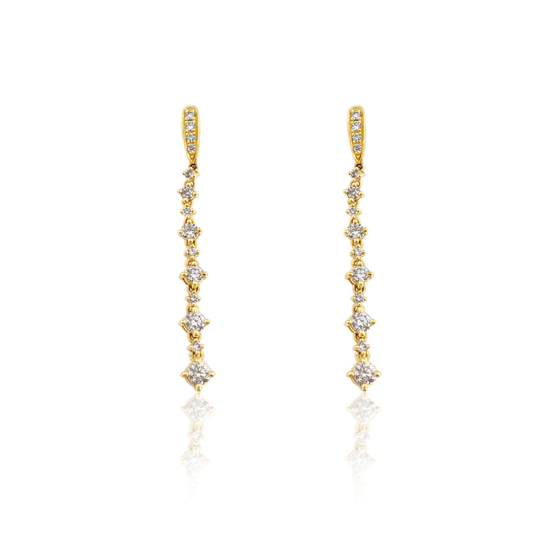 San Antonio Jewelry graduated diamond drop earrings in 18k yellow gold