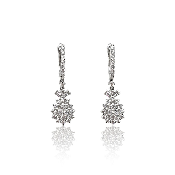 Diamond Pear Drop Earrings — in 18k White Gold