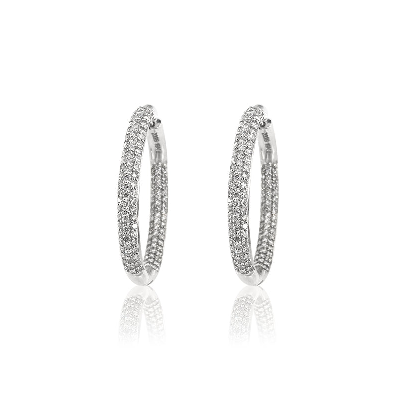Diamond Statement Hoops in 19k White Gold