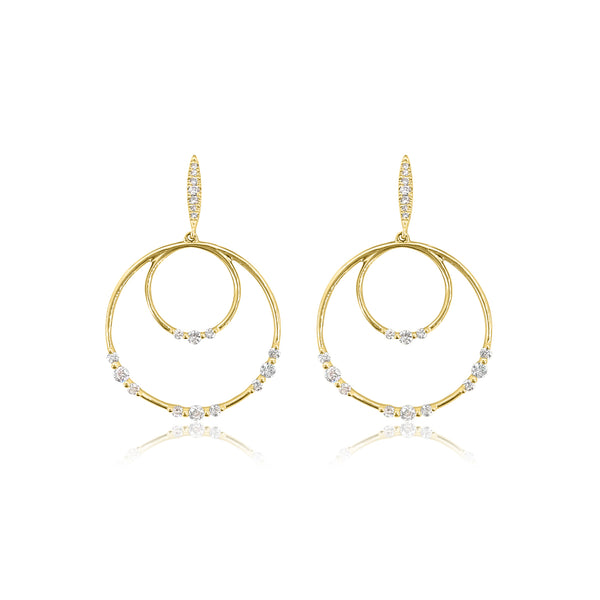Diamond Drop Earrings in 18K Yellow Gold