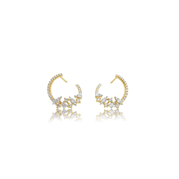 Diamond Wrap Around Statement Earrings in 18K Yellow Gold