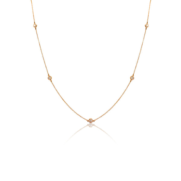 Diamond Chain Necklace in Rose Gold