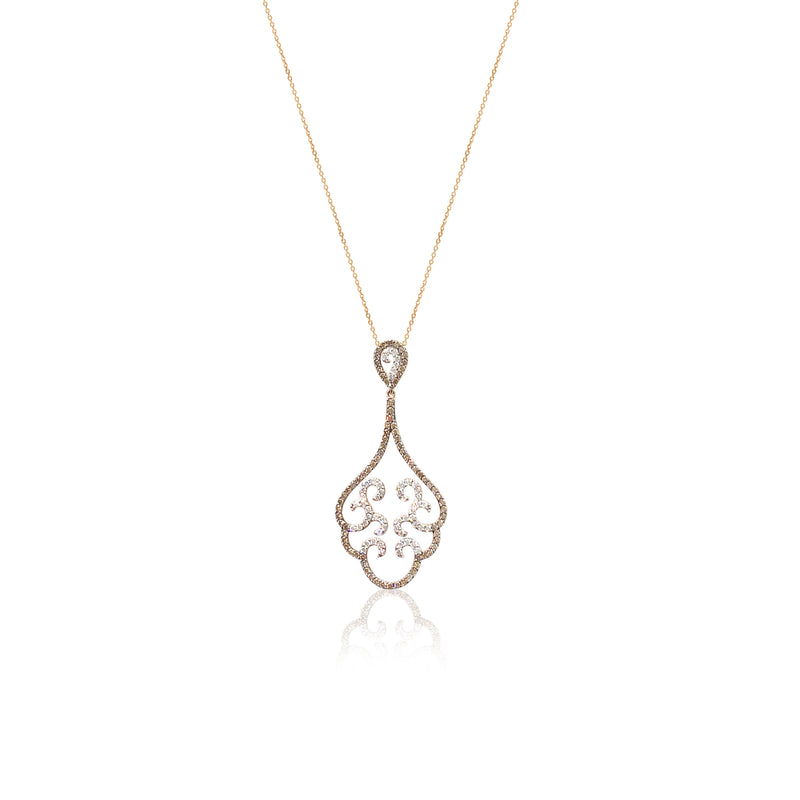 White and Chocolate diamond rose gold swirl pendant