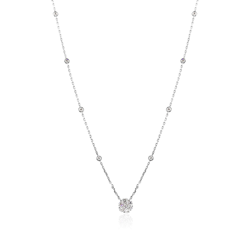 Diamond Cluster Necklace — .77 Carat in 18k White Gold