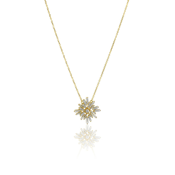 Tapered Baguette Diamond Necklace in 14K Yellow Gold