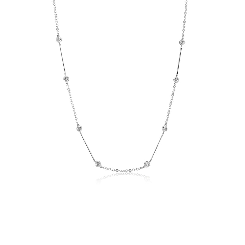 Diamond Bar and Bezel Necklace in 18K White Gold