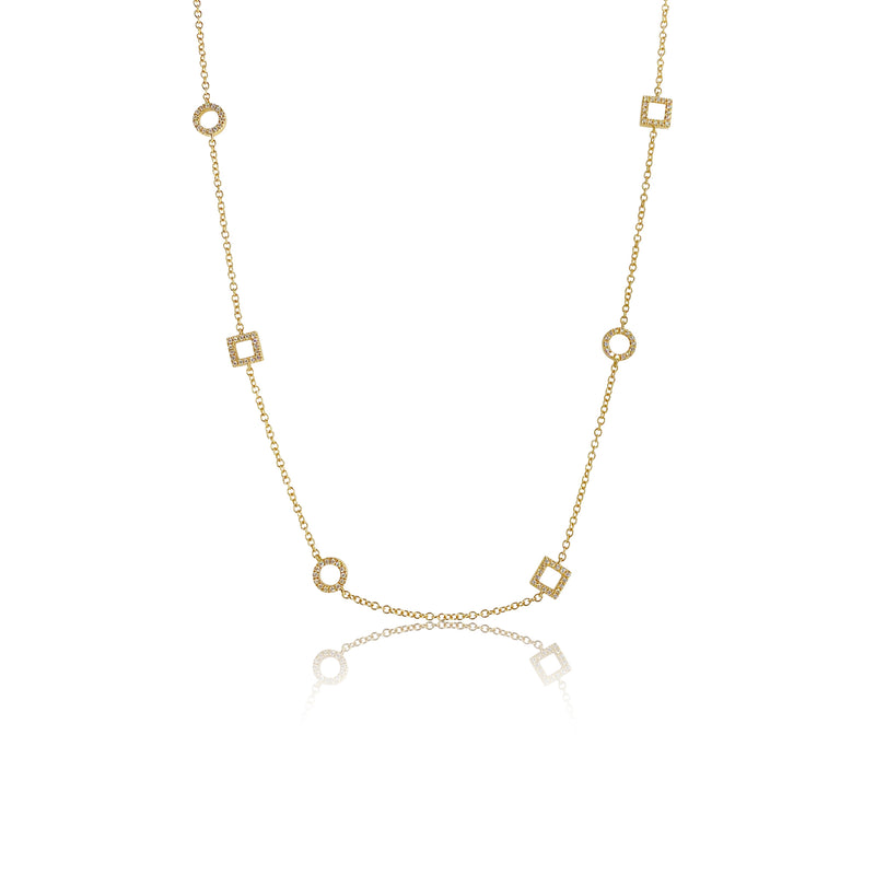 Floating Diamond Shapes Necklace in 18K Yellow Gold
