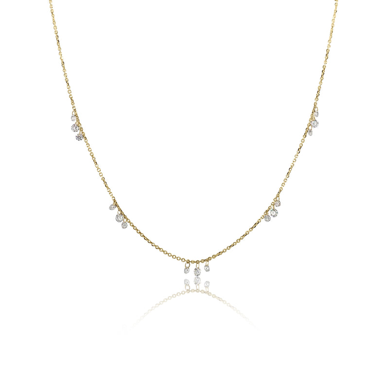 Floating Diamond Station Necklace in 18K Yellow Gold