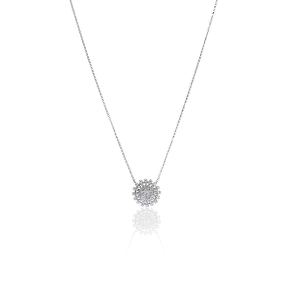 Diamond Flower Necklace in 18K White Gold