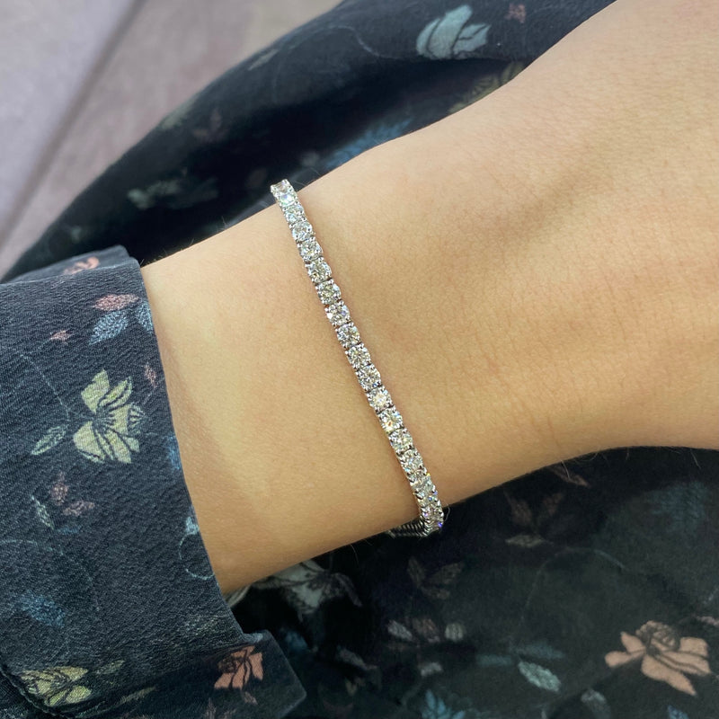 Diamond Tennis Bracelet — 3.71 Carats in 14k White Gold