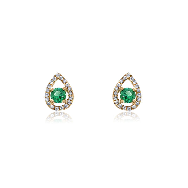 San Antonio Jewelry pear stud earrings; diamond halo with emerald at center in yellow gold.