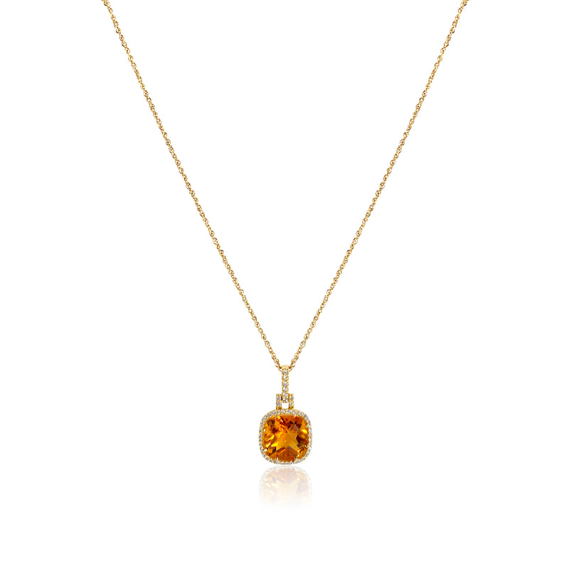 San Antonio Jewelry citrine and diamond halo necklace in 14k yellow gold