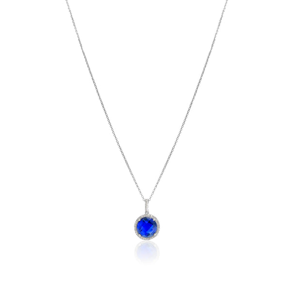 San Antonio Jewelry sapphire necklace with diamond halo in white gold