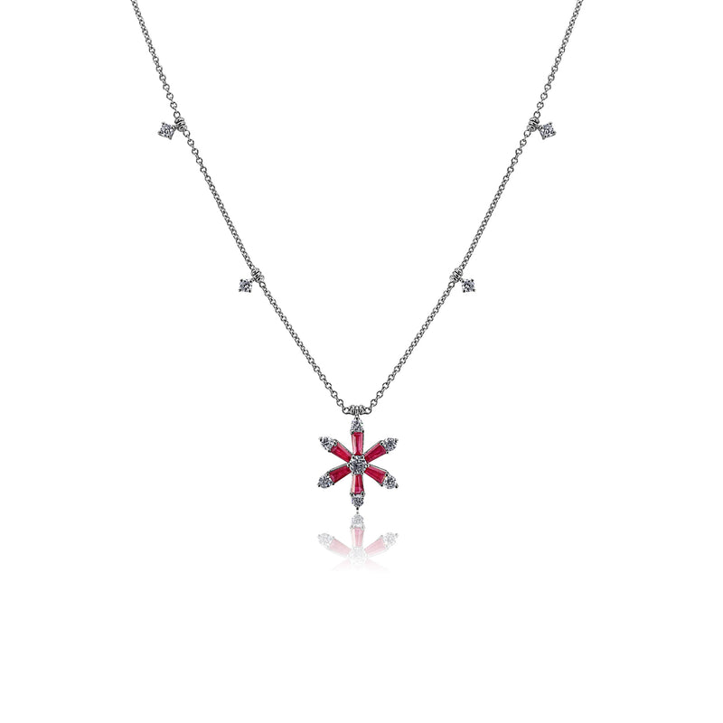 San Antonio Jewelry ruby flower with diamond accent necklace.