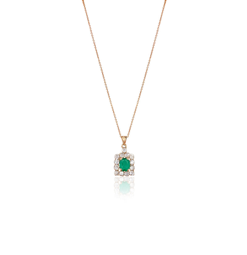 Emerald and Diamond Pendant in 14k Rose Gold