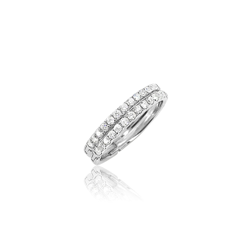 Diamond Double Row Ring in 18K White Gold