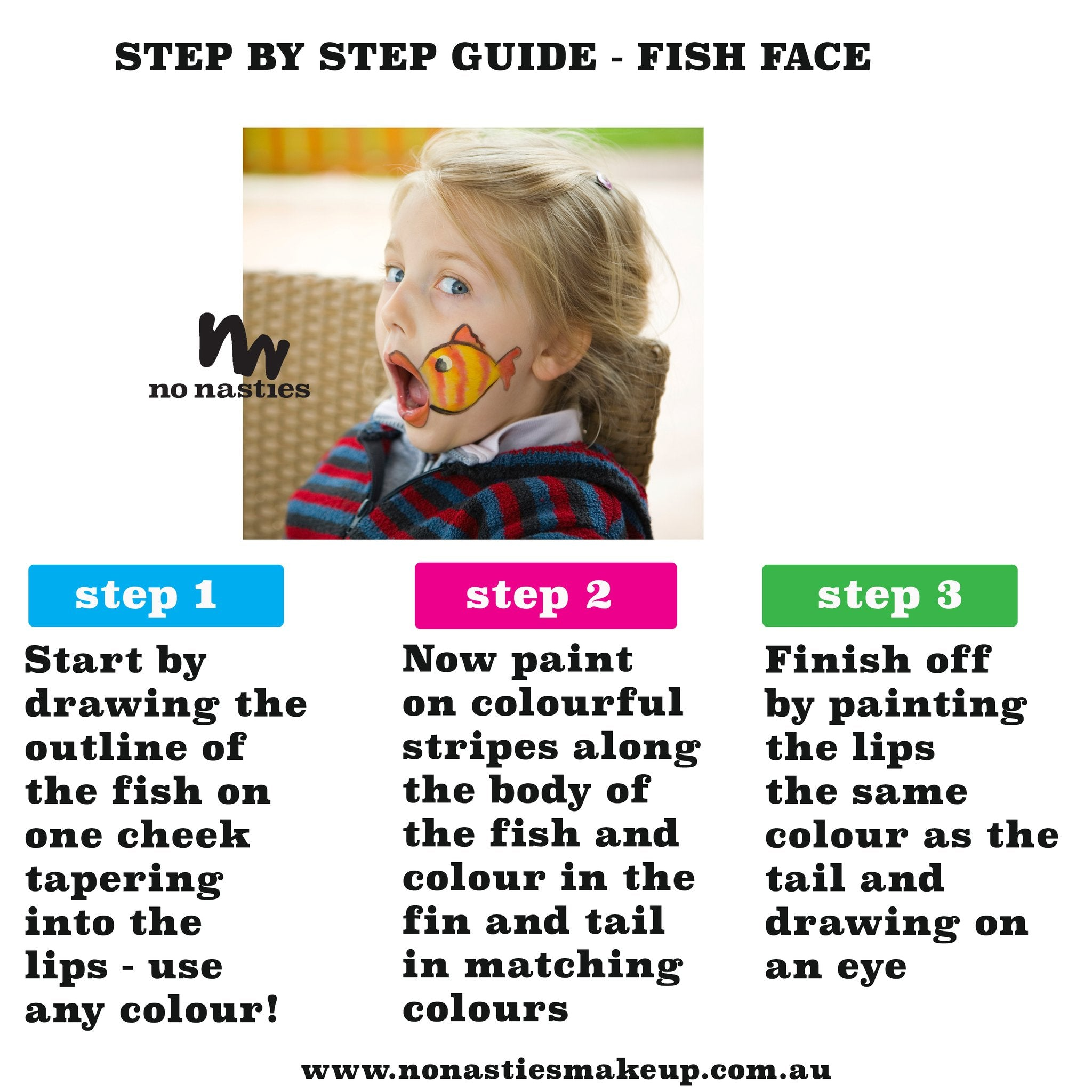fishy face childrens face painting guide