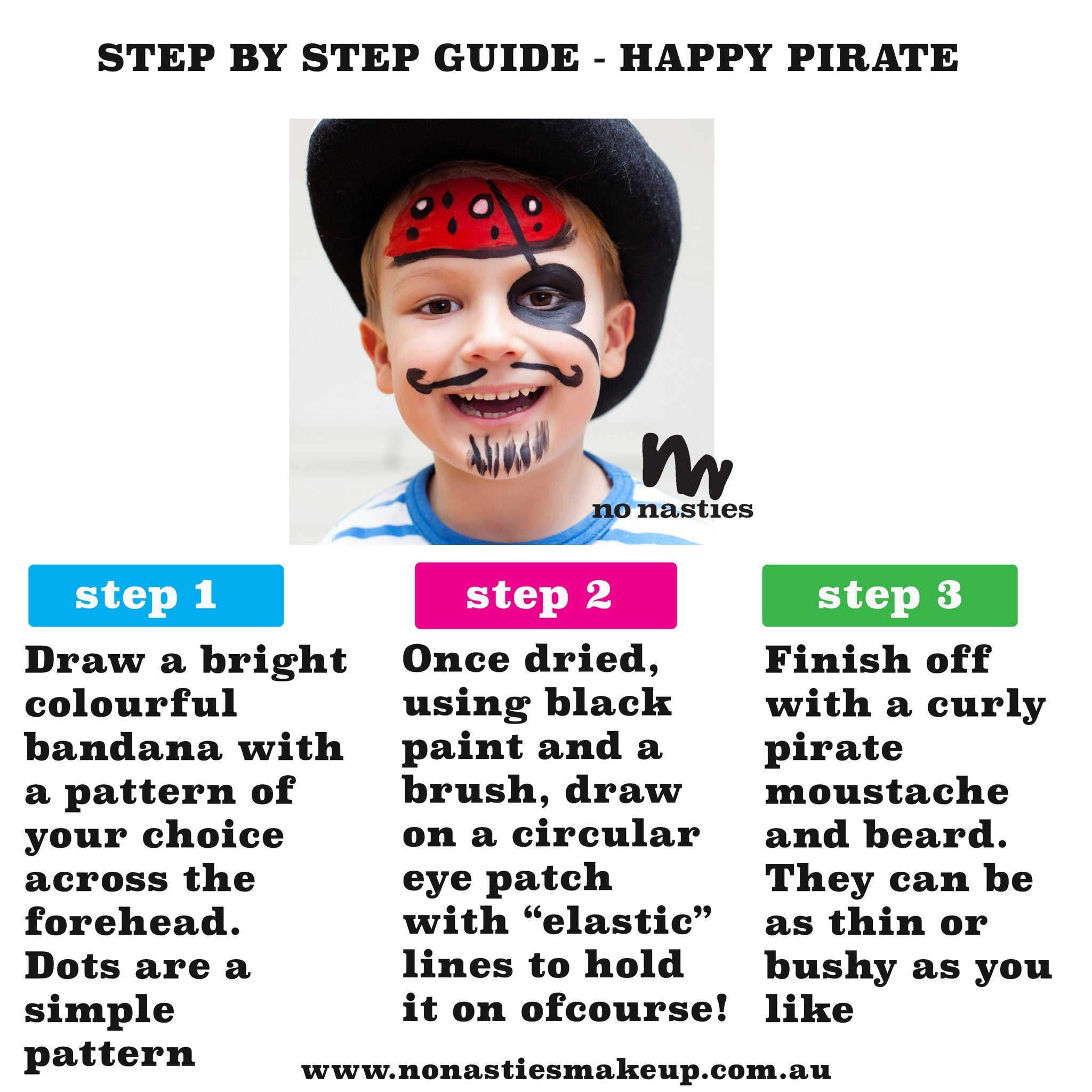 Face painting guide How to paint a pirate