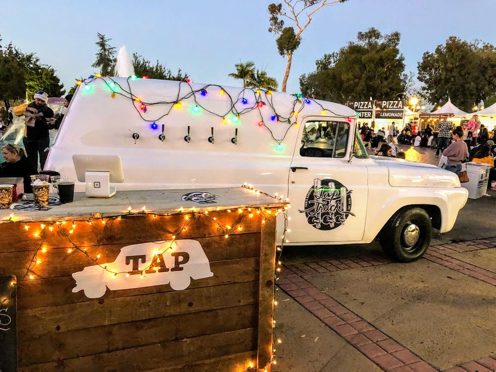 christmas beer truck!  beleive it or not at this festival of lights tap truck poured / tapped hot apple cider and hot chocolate.  the beer truck was even serving root beer floats and cold brew coffee in santa barbara