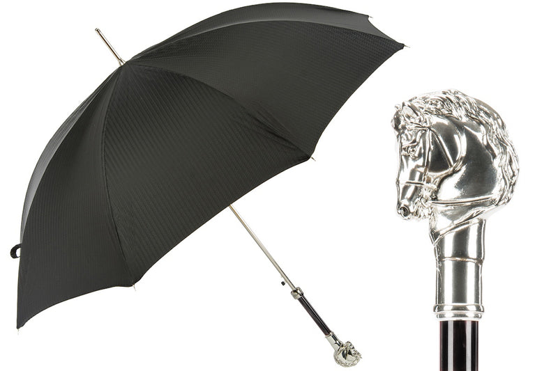 Black Umbrella with Silver Horse Handle - PASOTTI