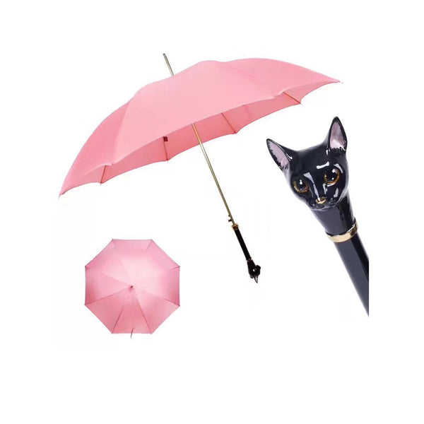 Pink Umbrella with Black Cat Handle - PASOTTI