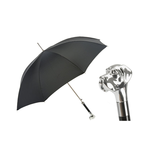 Black Umbrella with Silver Labrador Handle - PASOTTI