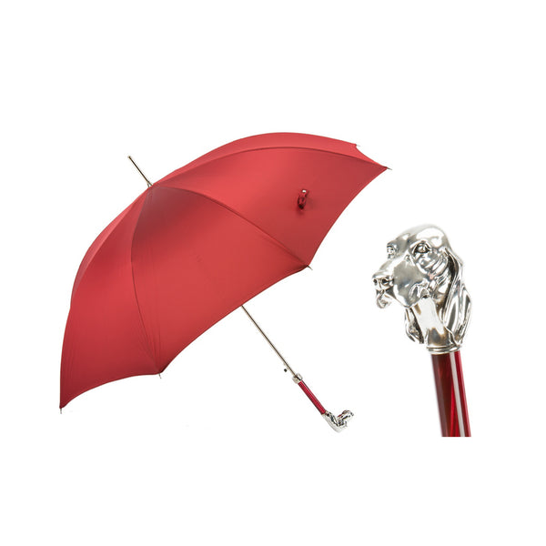 Red Umbrella with Silver Hound Handle - PASOTTI