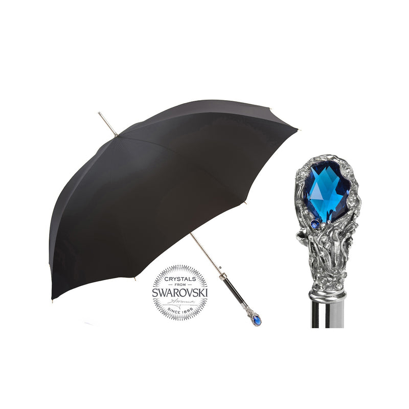 Black Umbrella with Blue Crystal Handle - PASOTTI