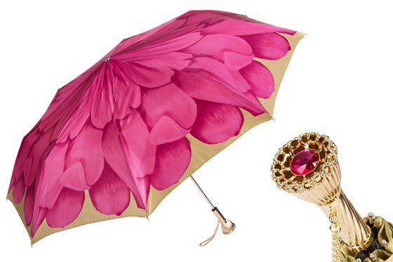 Pink Dahlia Folding Umbrella - PASOTTI