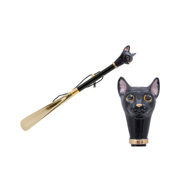 Gold Shoehorn with Black Cat Handle - PASOTTI