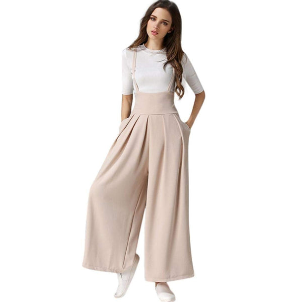 5ca7ef78c8cb TAORE Leggings Women Casual Pleated High Waisted Wide Leg Palazzo Pants  Suspenders Trousers