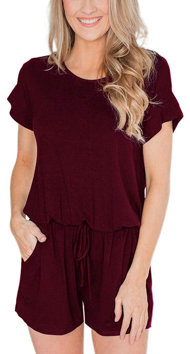 31ca2d7a0 Swiland Women's Summer Short Sleeve Casual Rompers with Pockets Loose  Jumpsuit ...