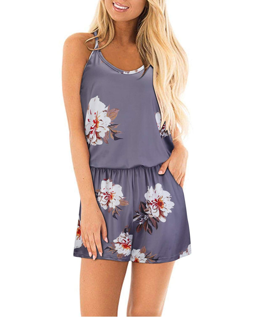 9534dbe6cc4f STYLEWORD Womens Summer Floral Spaghetti Strap Short Casual Jumpsuit Rompers