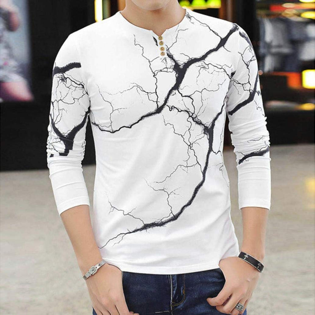 53db129be8 vermers Mens Clothing Clearance Sale - Fashion Men's Lightning Printed Tops  Casual Long Sleeve T Shirt