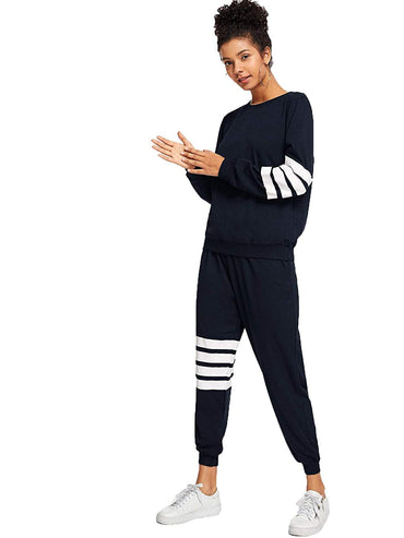 7deac50f3d9 Romwe Women s Fall Striped Sweatshirt Top with Pants 2 Pieces Outfit ...