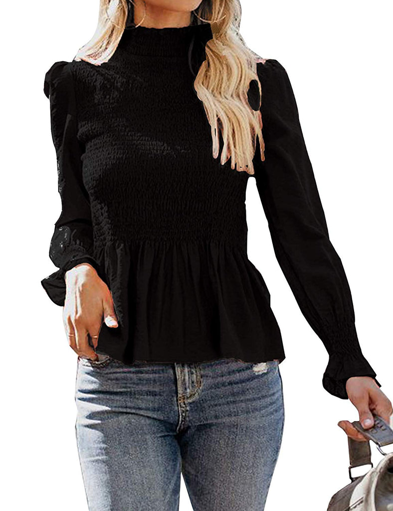be689c41c5 Relipop Women's Blouse Long Bell Sleeve Turtleneck Smocking Casual T-Shirt  Pullover Tops