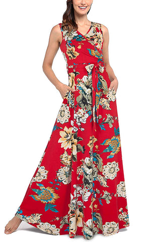 2fe5bbb07 Comila Women's Summer V Neck Floral Maxi Dress Casual Long Dresses with  Pockets   ZAHZIE