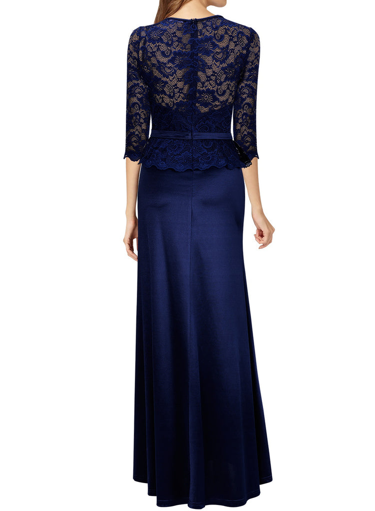 528903cb45cad6 MIUSOL Women's Retro Floral Lace Vintage 2/3 Sleeve Slim Ruched Wedding  Maxi Dresses for
