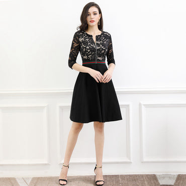 6cc215e736c ... Dresses for Women (Black XL) · MISSMAY Women s Vintage 1950s Floral  Lace Front Zipper 3 4 Sleeve Elegant Evening Cocktail Swing ...