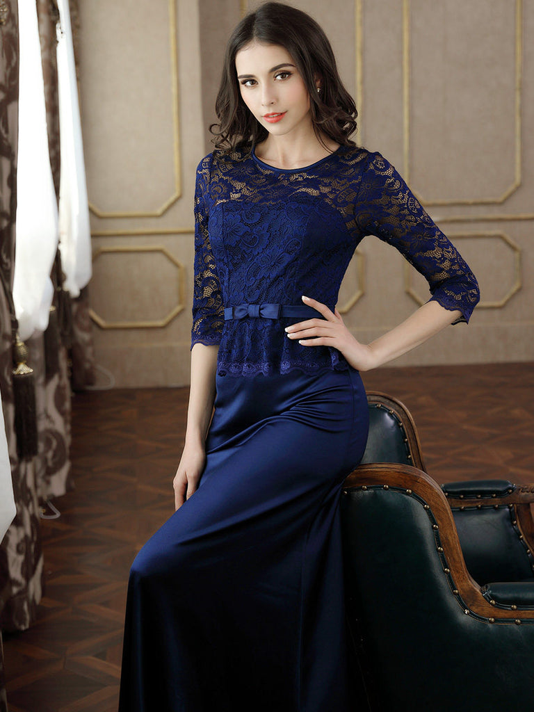 47fc17293e63f MIUSOL Women's Retro Floral Lace Vintage 2/3 Sleeve Slim Ruched Wedding  Maxi Dresses for