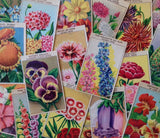 Vintage French 144 Antique Seed Packet Labels Flowers