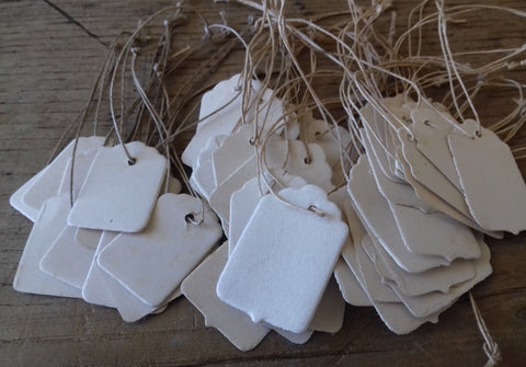45 Vintage Scalloped Top Strung Tags - simplyfrenchvintage