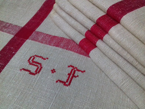 6 Linen Tea Towels 'SF' Initials - simplyfrenchvintage